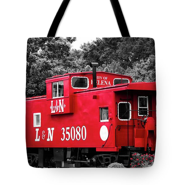 Tote Bag featuring the photograph Selective Color Red Caboose by Parker Cunningham
