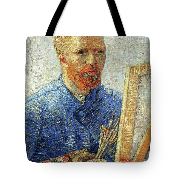 Tote Bag featuring the painting Self Portrait As An Artist by Van Gogh