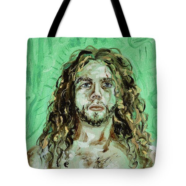Tote Bag featuring the painting Self Portrait -with Emerald Green And Mummy Brown- by Ryan Demaree