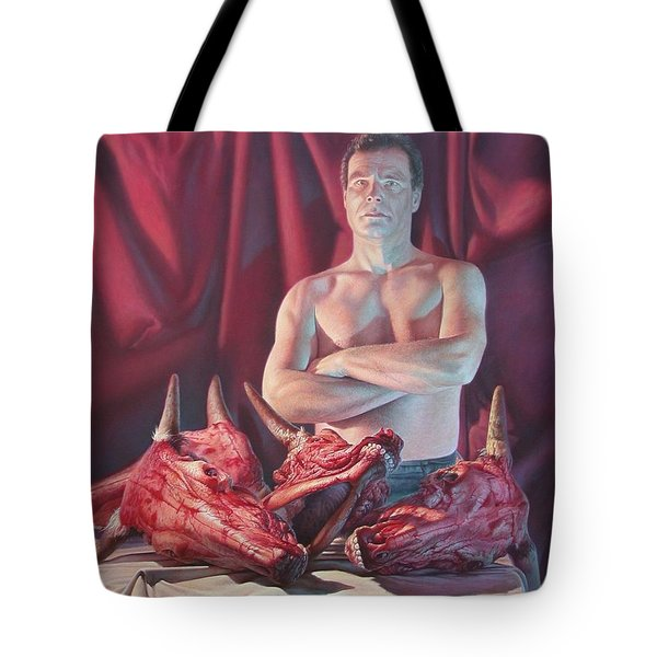 Self Portrait With Slaughtered Cow Heads Tote Bag