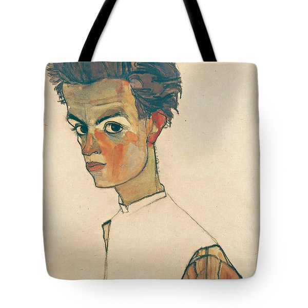 Self-portrait With Striped Shirt Tote Bag