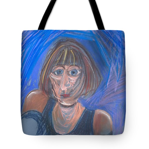 Tote Bag featuring the pastel Selfie by Carolyn Weltman
