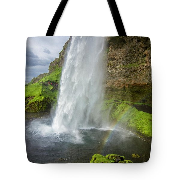 Seljalandsfoss With Rainbow, Iceland Tote Bag