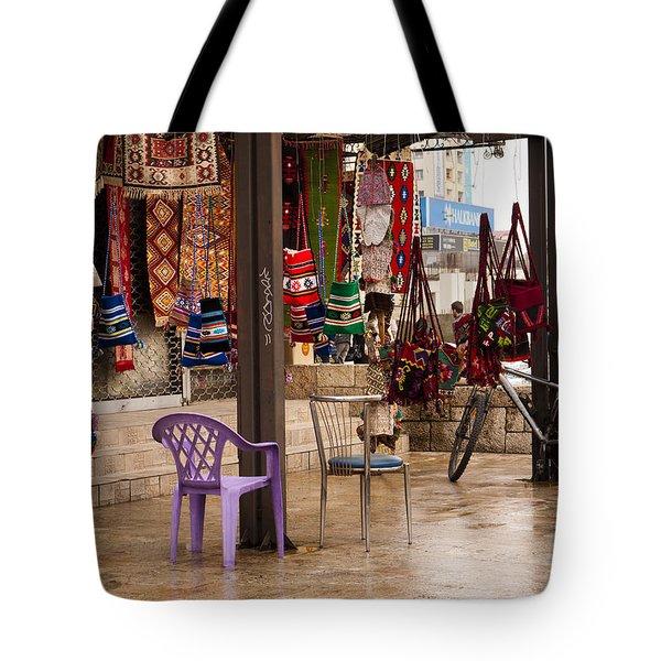 Selling At The Bazaar Tote Bag by Rae Tucker