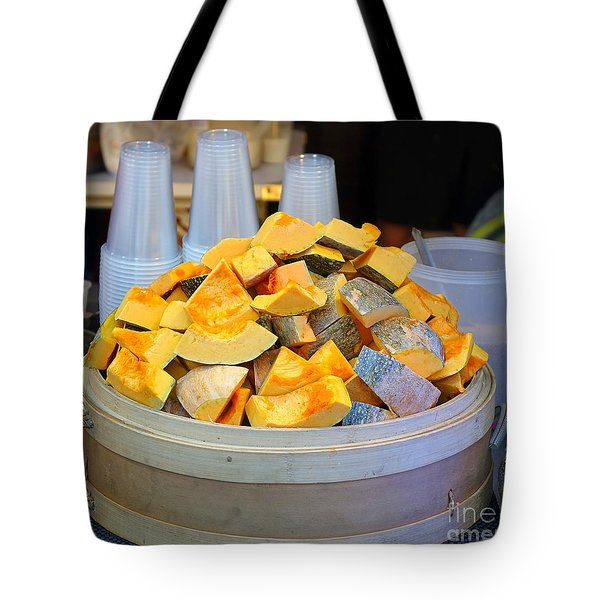 Tote Bag featuring the photograph Selling Fresh Pumpkin Shakes by Yali Shi
