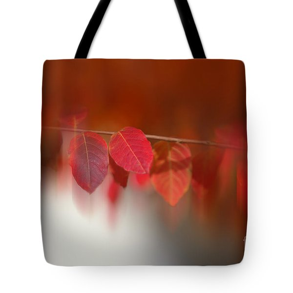 Semi Abstract Red Leaves Tote Bag