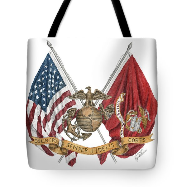 Tote Bag featuring the painting Semper Fidelis Crossed Flags by Betsy Hackett