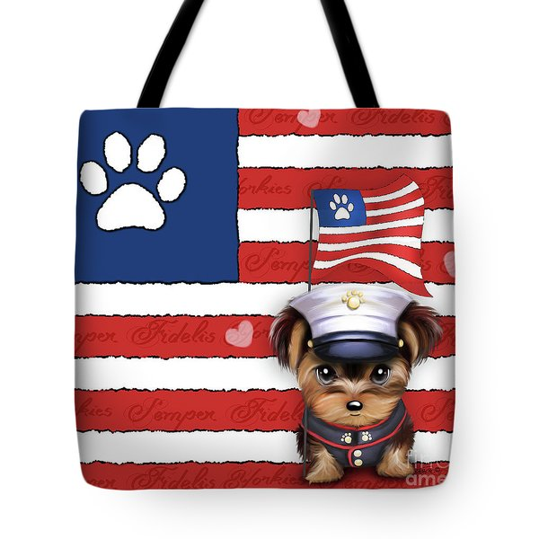 Tote Bag featuring the painting Semper Fidelis Yorkie Marine by Catia Lee