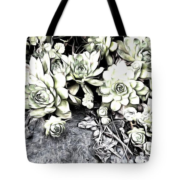 Tote Bag featuring the photograph Sempervivum - Ebony And Ivory  by Janine Riley