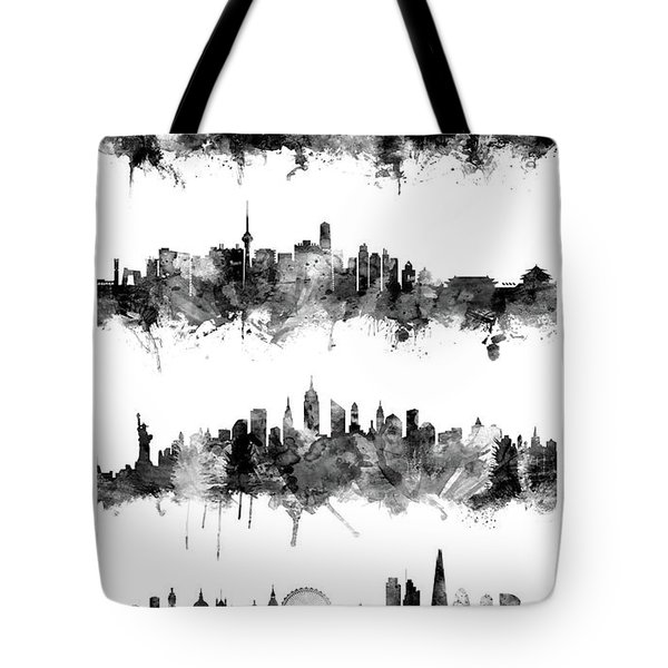 Seoul, Beijing, New York And London Custom Skyline Collection Tote Bag