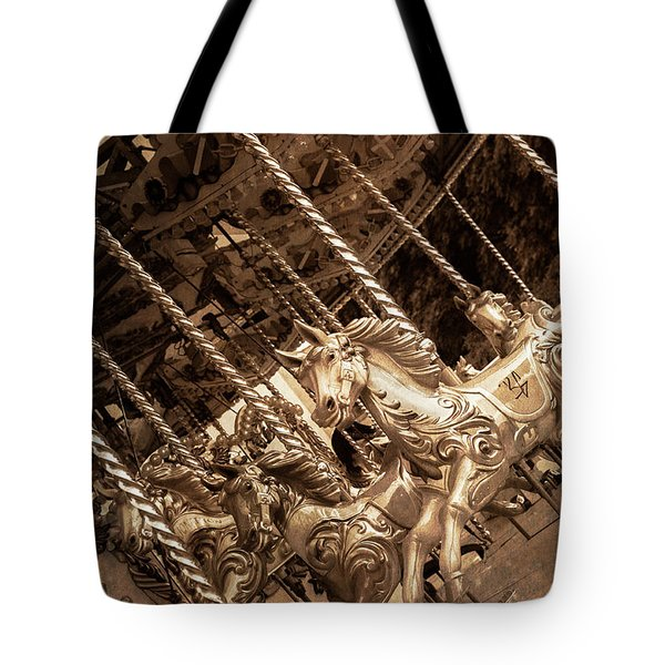 Sepia Carousel Horse Tote Bag