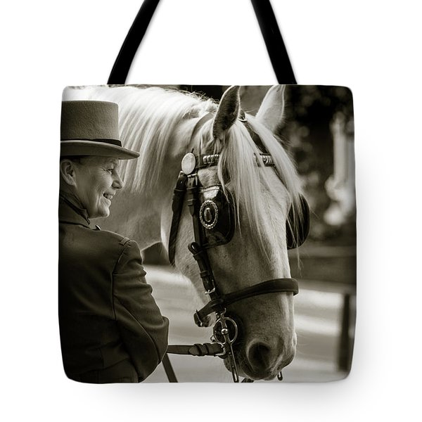 Tote Bag featuring the photograph Sepia Carriage Horse With Handler by Dennis Dame