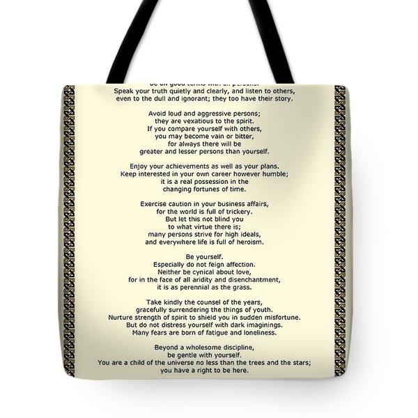 Sepia Chain Desiderata Poem Tote Bag