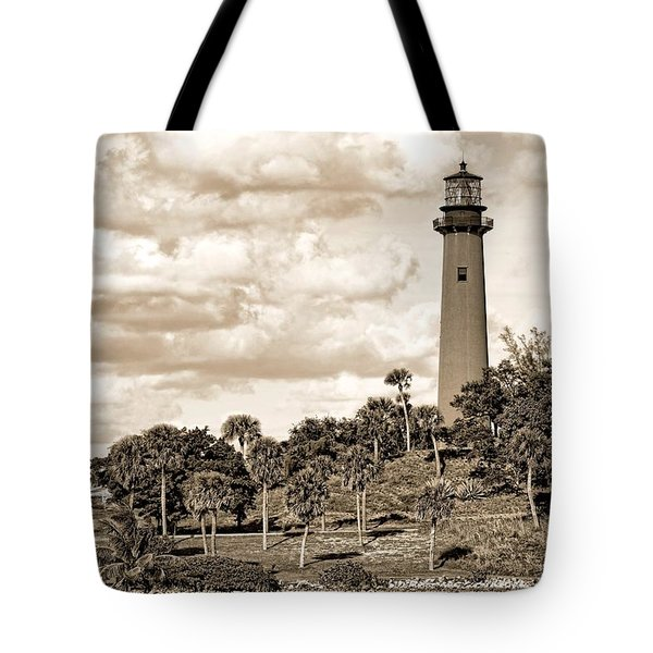 Sepia Lighthouse Tote Bag by Rudy Umans