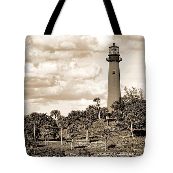 Sepia Lighthouse Tote Bag