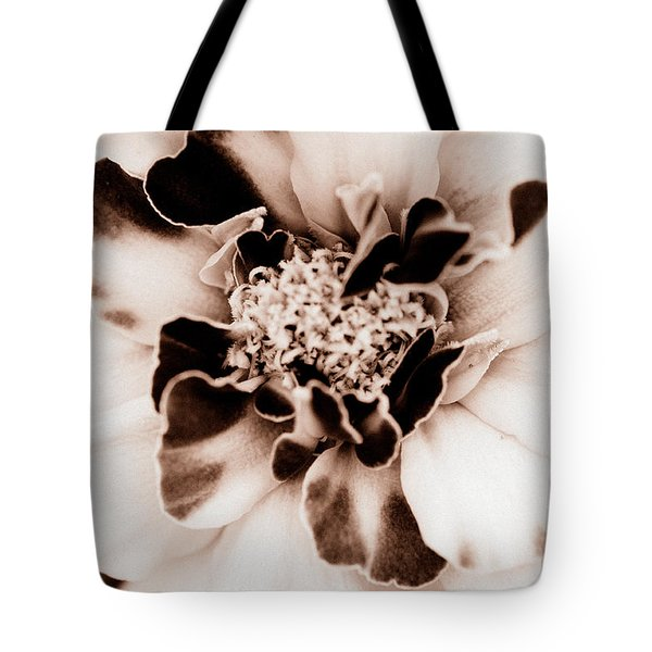 Tote Bag featuring the photograph Sepia Marigold by Christine Ricker Brandt