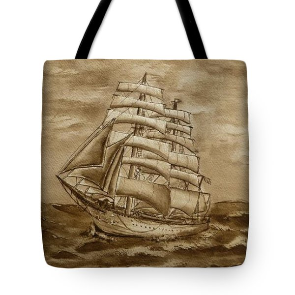 Tote Bag featuring the painting Sepia Oceans Fury by Kelly Mills