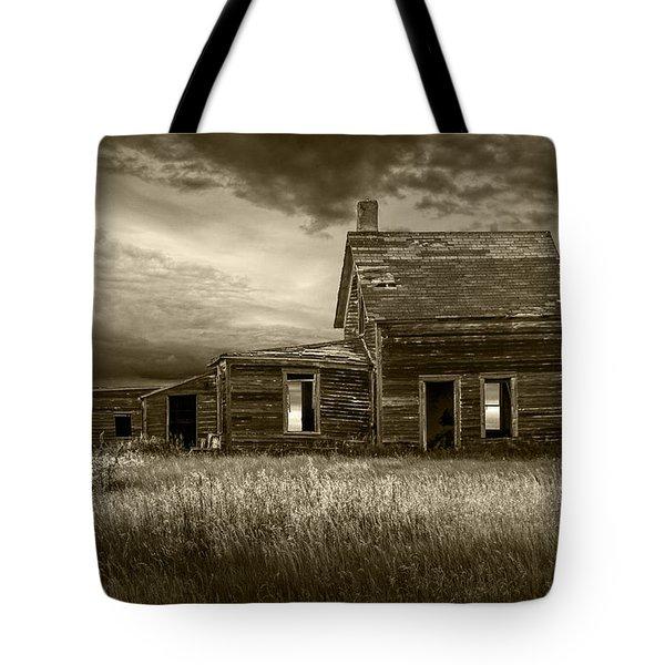 Sepia Tone Of Abandoned Prairie Farm House Tote Bag