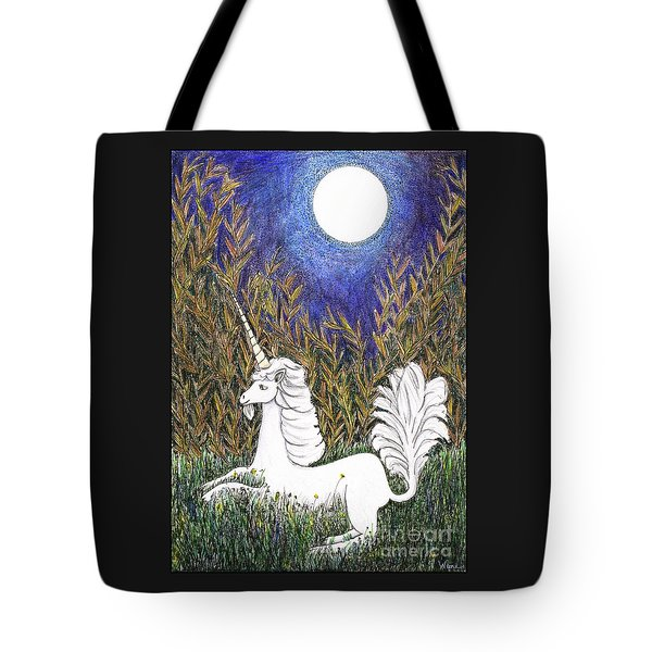 Tote Bag featuring the painting September Unicorn by Lise Winne
