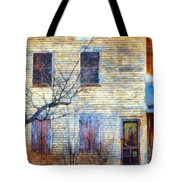 Tote Bag featuring the photograph September's Gone - Yellow Farmhouse Windows by Janine Riley
