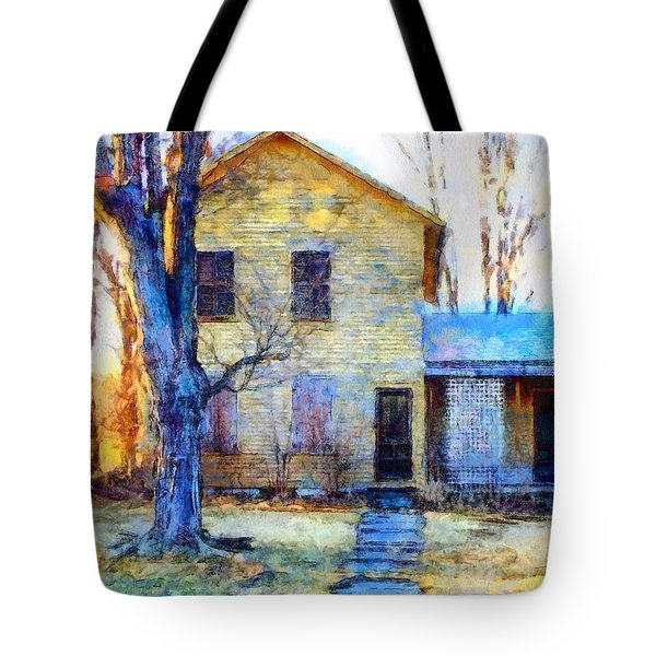 Tote Bag featuring the photograph September's Song - Yellow Farmhouse  by Janine Riley