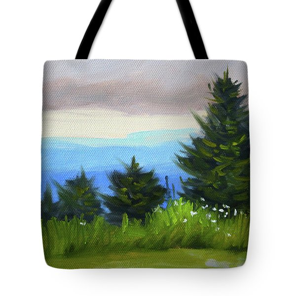 Tote Bag featuring the painting Sequim Vista by Nancy Merkle