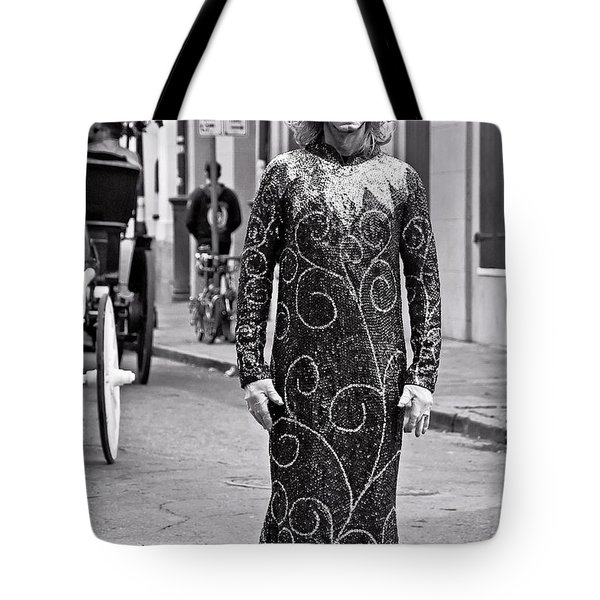 Sequined Mime In Black And White Tote Bag by Kathleen K Parker