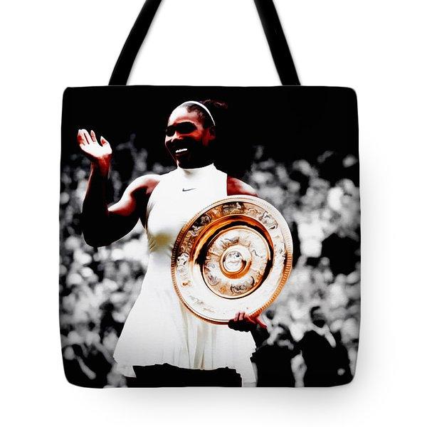 Serena 2016 Wimbledon Victory Tote Bag by Brian Reaves