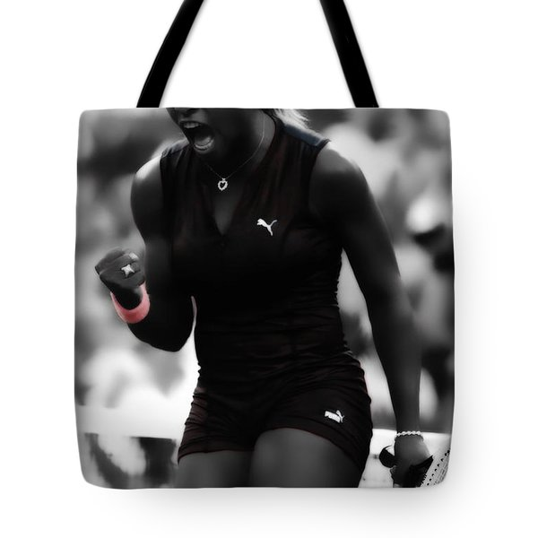 Serena Williams On Fire Tote Bag by Brian Reaves
