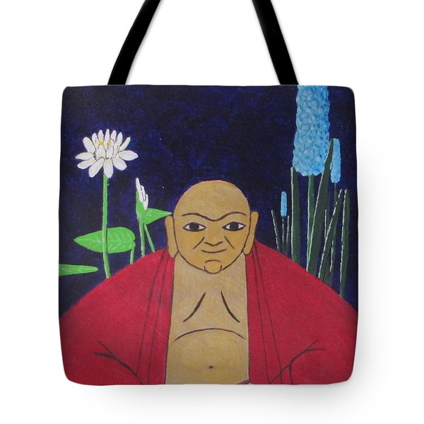 Tote Bag featuring the painting Serene Buddha by Hilda and Jose Garrancho