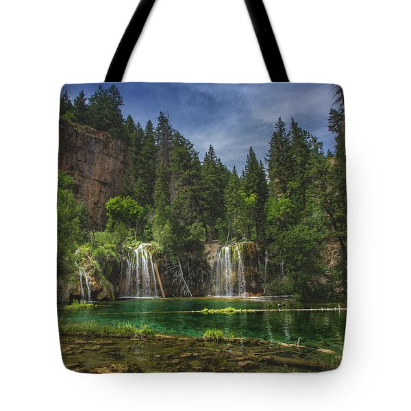 Tote Bag featuring the photograph Serene Hanging Lake Waterfalls by Andy Konieczny