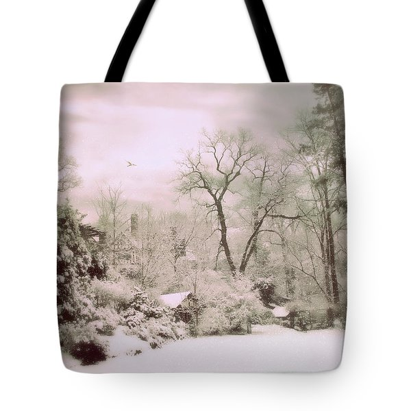 Tote Bag featuring the photograph Serene In Snow by Jessica Jenney