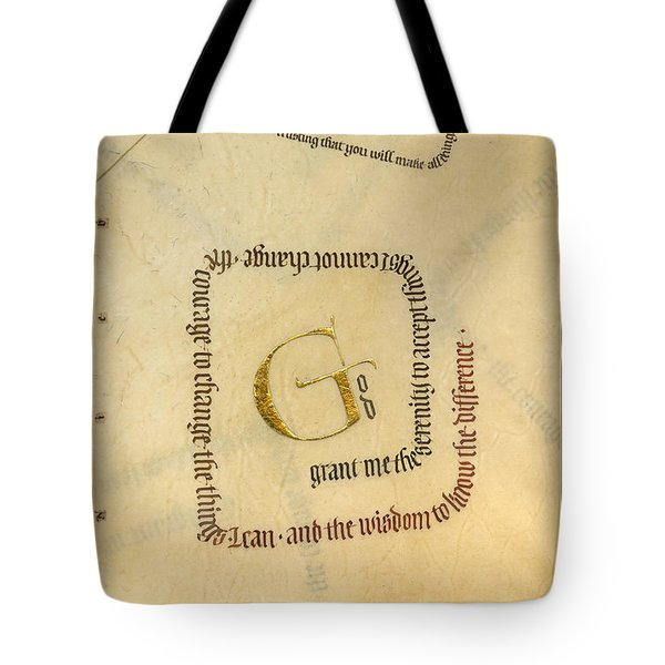 Serenity Prayer II Tote Bag by Judy Dodds
