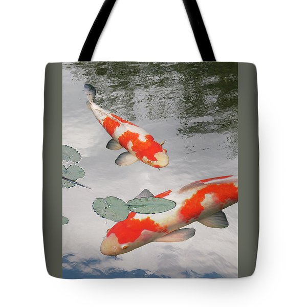 Serenity - Red And White Koi Tote Bag by Gill Billington