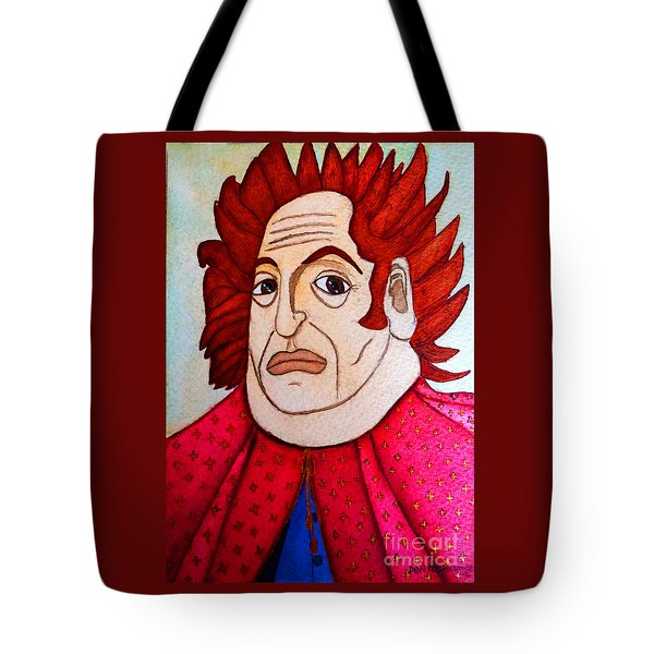 Tote Bag featuring the painting Serious Cardinal by Don Pedro De Gracia