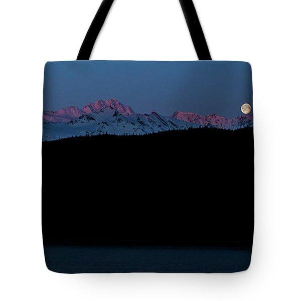 Setting Moon Over Alaskan Peaks II Tote Bag