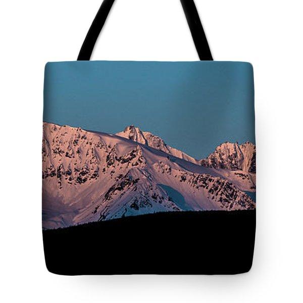 Setting Moon Over Alaskan Peaks Vi Tote Bag