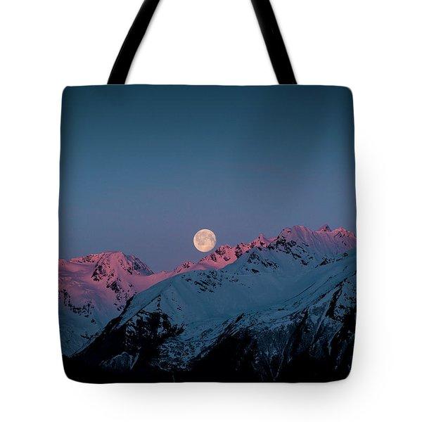 Setting Moon Over Peaks IIi Tote Bag