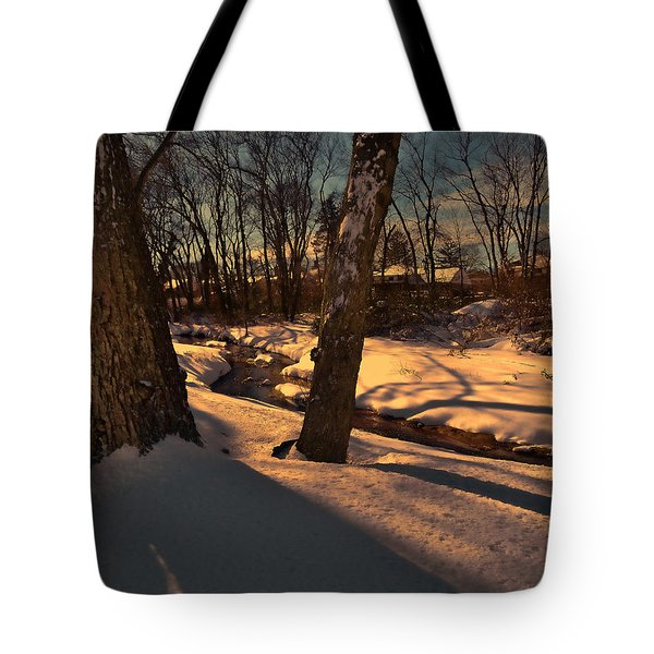 Setting Sun On A Winters Day Tote Bag by Mikki Cucuzzo