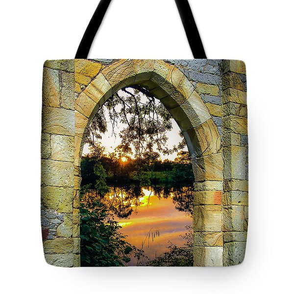 Tote Bag featuring the photograph Setting Sun On Ireland's Shannon River by James Truett