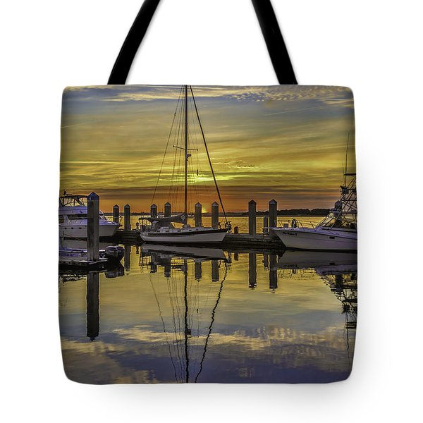 Setting Sun Reflections Tote Bag