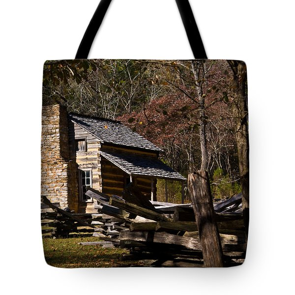 Settlers Cabin Cades Cove Tote Bag