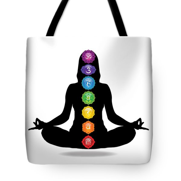 Seven Chakra Illustration With Woman Silhouette Tote Bag