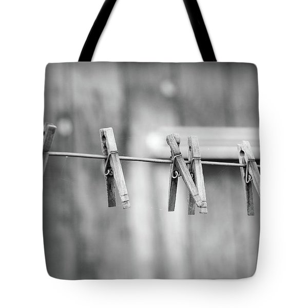 Seven Clothes Pins Tote Bag by Marius Sipa