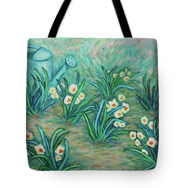 Tote Bag featuring the painting Seven Daffodils by Xueling Zou