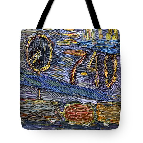 Tote Bag featuring the painting Seven Forty by Vadim Levin