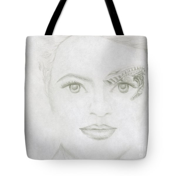 Tote Bag featuring the drawing Seven by Kim Sy Ok