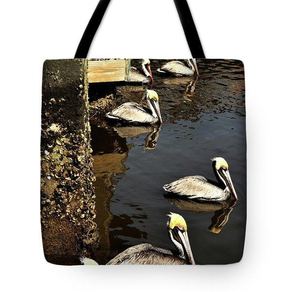 Seven Pelicans Tote Bag