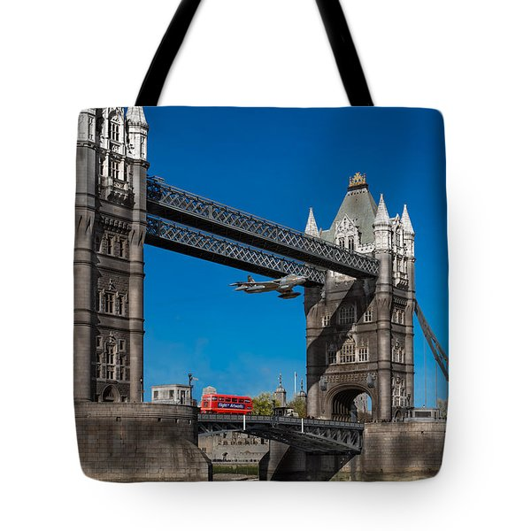 Seven Seconds - The Tower Bridge Hawker Hunter Incident  Tote Bag by Gary Eason