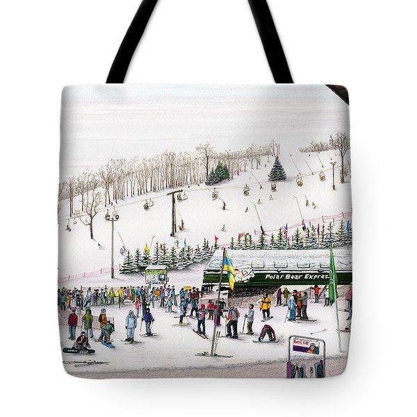 Tote Bag featuring the painting Seven Springs Stowe Slope by Albert Puskaric